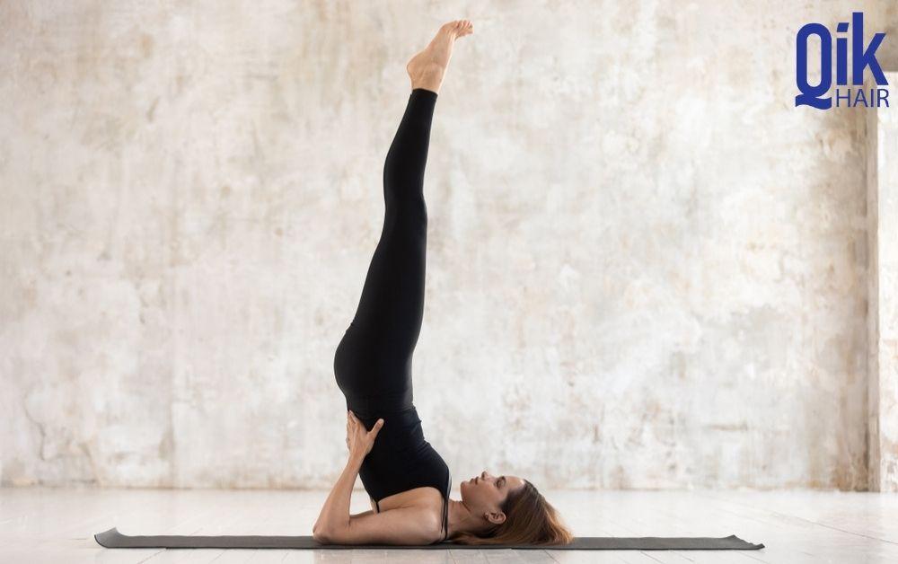 tu the tap yoga Sarvangasana giam rung toc